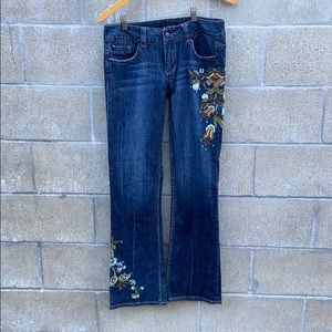 Rampage embellished low rise flare jeans